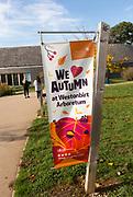 Sign We Love Autumn, National arboretum, Westonbirt arboretum, Gloucestershire, England, UK