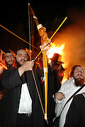Israel, Galilee, Mount Meron, Jews praying during the lag b'omer celebrations at mount Meron. Lag B'Omer is a day for bonfire celebrations. The most famous is held at the village of Meron, near the northern city of Safed. May 2006 The traditional Bow and Arrow