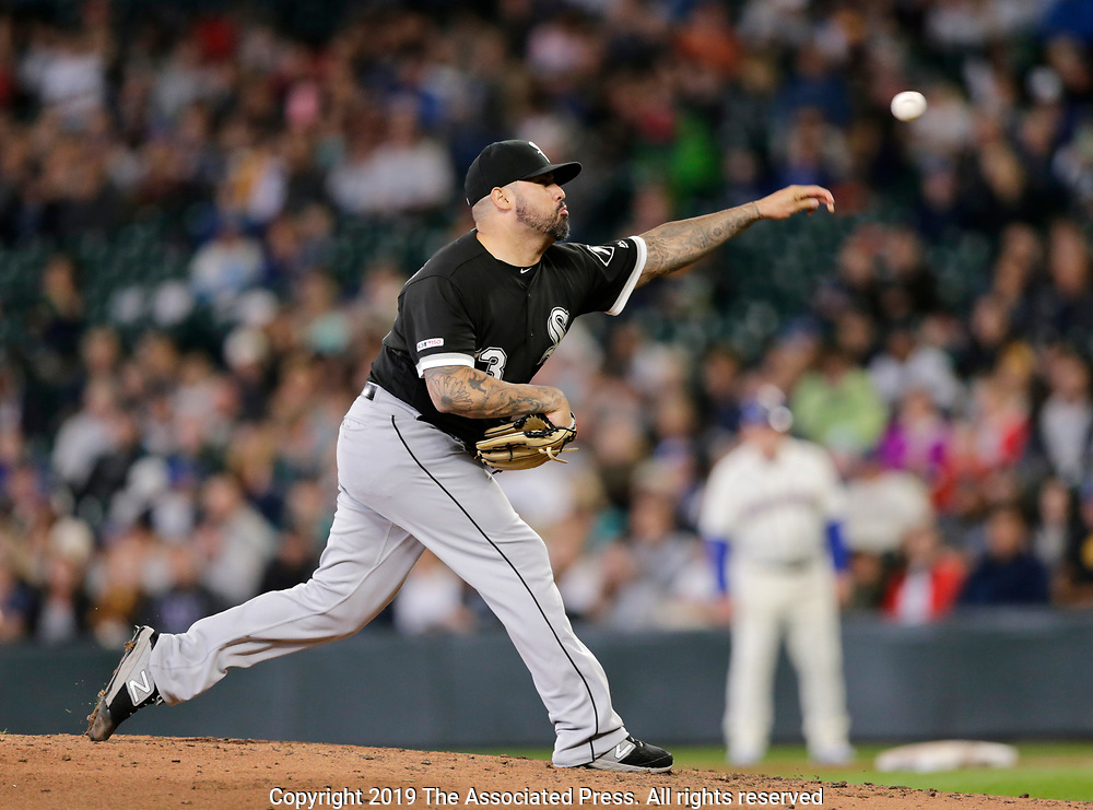 Chicago White Sox pitcher Hector Santiago works against the Seattle Mariners during a baseball game, Sunday, Sept. 15, 2019, in Seattle. (AP Photo/John Froschauer)