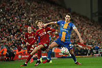 Football - 2019 / 2020 Emirates FA Cup - Fourth Round, Replay: Liverpool vs. Shrewsbury Town<br /> <br /> Liverpool's Jake Cain battles with Shrewsbury Town's David Edwards (C) , at Anfield.<br /> <br /> COLORSPORT/TERRY DONNELLY