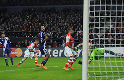 Arsenal's Kieran Gibbs celebrates his goal. - Photo mandatory by-line: Dougie Allward/JMP - Mobile: 07966 386802 - 22/10/2014 - SPORT - Football - Anderlecht - Constant Vanden Stockstadion - R.S.C. Anderlecht v Arsenal - UEFA Champions League - Group D