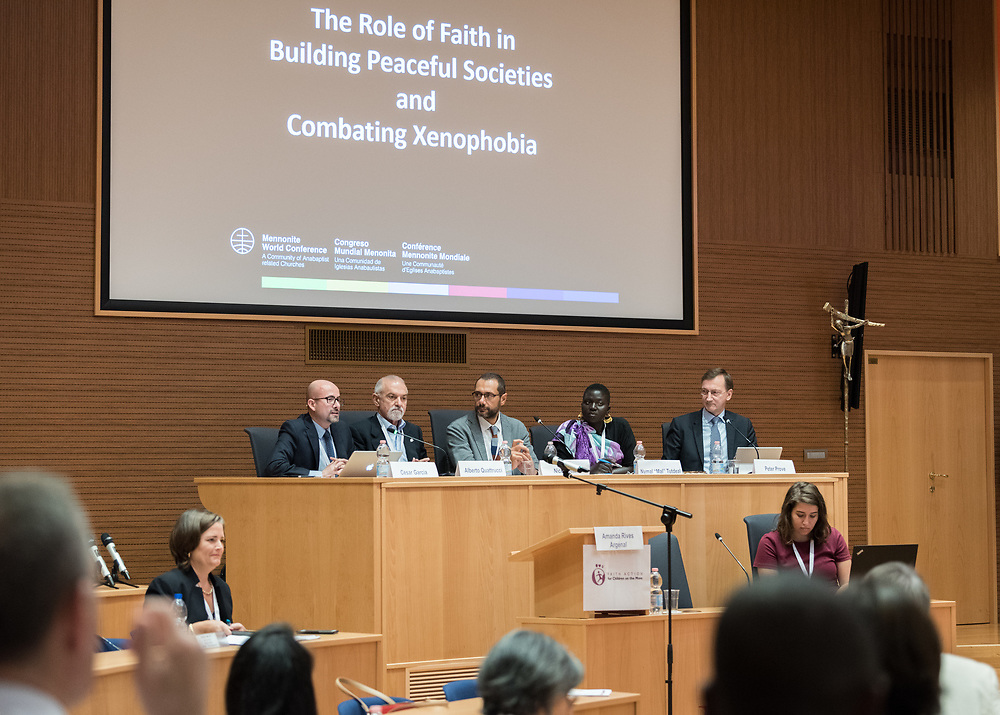 """18 October 2018, Rome, Italy: Panel on the Role of Faith in Building Peaceful Societies and Combating Xenophobia. Convened by the World Council of Churches, the ACT Alliance, Islamic Relief, World Vision and many others, the event """"Faith Action for Children on the Move"""" brings together some 200 participants from 80 different organizations to discuss how faith communities can help end violence against migrant and refugee children."""