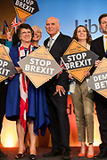 Liberal Democrat Leader Vince Cable with MEP candidates at the Liberal Democrat party European election campaign launch held at Tobacco Dock, in London, England on April 26, 2019. Liberal Democrat party leader, Vince Cable announced Member of European Parliament MEP candidates for the upcoming European Parliament elections that will take place from 23rd to 26th May 2019.