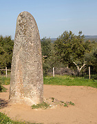 Neolithic standing stone 4 metres high called the Menir dos Almendres, near Evora, Alentejo, Portugal, Southern Europe