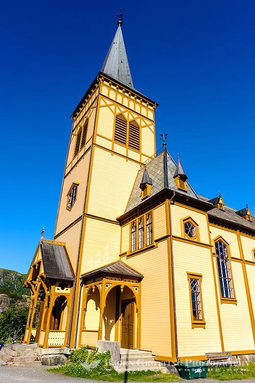 Norway, Lofoten. Vågan Church, or Lofotkatedralen, was built in 1898. It is the largest wooden building in Norway north of Trondheim.