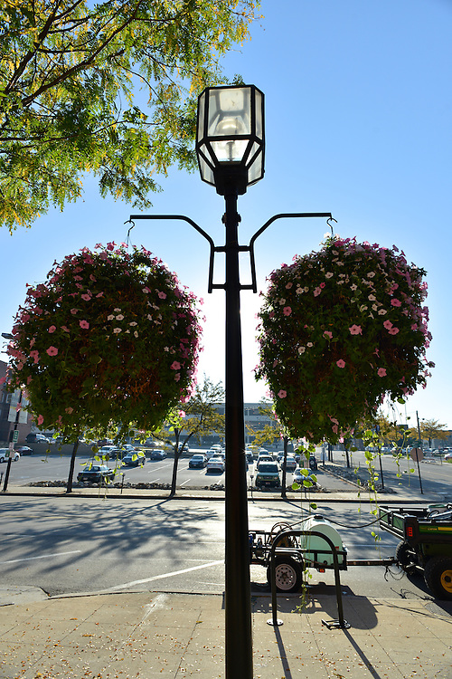 Hanging flower baskets on a downtown light post.