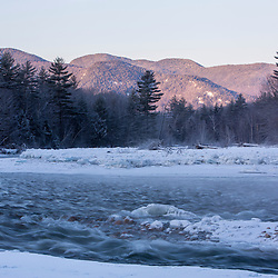 Dawn over the Saco River in New Hampshire's White Mountains. Winter.