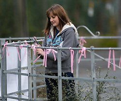 © Licensed to London News Pictures. 05/10/2012. Machynlleth Powys Wales. 25 year old GWEN HAYLOCK ties pink ribbons on the streets of Machynlleth Powys Wales in support of the family of five year old girl APRIL JONES abducted whilst playing outside her house on Oct 1 2012. Police are now treating this as a murder investigation and are continuing to question 46 year old local man MARK BRIDGER. Photo credit: Keith Morris/LNP