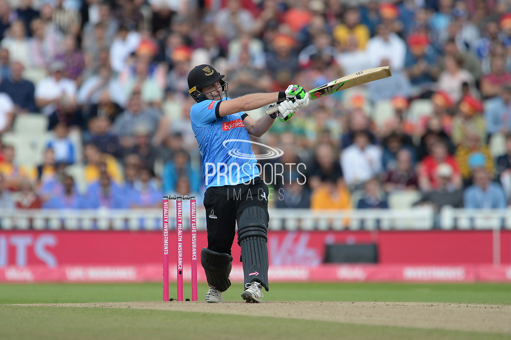 Luke Wright of Sussex hits a six during the Vitality T20 Finals Day semi final 2018 match between Sussex Sharks and Somerset County Cricket Club at Edgbaston, Birmingham, United Kingdom on 15 September 2018.