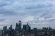 A view across the City of London from the east showing the new building and the contemporary skyline of the traditional Square Mile on 24th September 2019 in London, United Kingdom. Buildings shown here include The Cheesgrater (The Leadenhall Building), The Gherkin (30 St Mary Axe) and The Walkie Talkie (20 Fenchurch Street).