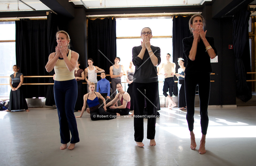 """The Martha Graham Dance Company has asked Cornelia Guest (yellow tank-top) and Somers Farkas (Black shirt and tights) to appear in the last number Graham choreographed before she died, """"Maple Leaf Rag."""" to be performed at a Lincoln Center gala. Also to appear and not pictured are Karen Lefrak, Muffie Aston Potter and Grace Hightower...Photo by Robert Caplin."""