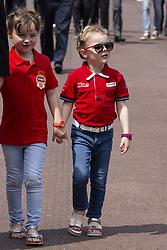 Kaia Rose Wittstock, Gabriella Grimaldi stroll along the pit lane at the 77th Monaco Grand Prix, Monaco on May 25, 2019. Photo by Marco Piovanotto/ABACAPRESS.COM
