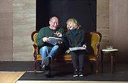 """Waterbury, CT, 2/1/2017<br /> Rehearsal of """"George and Gracie, The Early Years"""" at Seven Angels Theatre, Waterbury. R. Bruce Connelly as George Burns, Semina DeLaurentis as his wife Gracie Allen, crack up as they rehearse one of the Burns' comedy bits.<br /> Photo by MARA LAVITT 