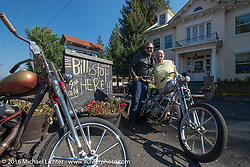 """""""Billy Stop here"""" - Bill Buckingham stopped to visit a friends mother after seeing this sign on the side of the route during stage 14 - (284 miles) of the Motorcycle Cannonball Cross-Country Endurance Run, which on this day ran from Meridian to Lewiston, Idaho, USA. Friday, September 19, 2014.  Photography ©2014 Michael Lichter."""