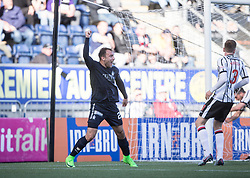 Falkirk's Conrad Balatoni cele scoring their goal. half time : Falkirk 1 v 0 Dunfermline, Scottish Challenge Cup played 7/9/2017 at The Falkirk Stadium.