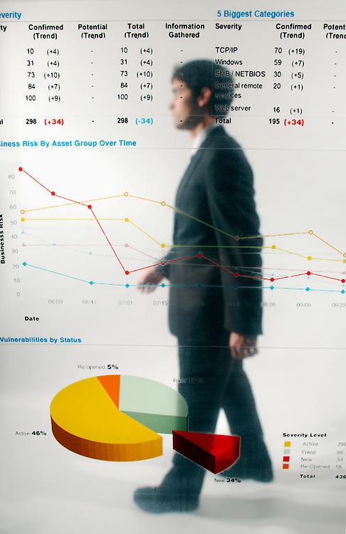 Businessman poses behind graphs - illustration of corporate transparency (model D.Mciver)