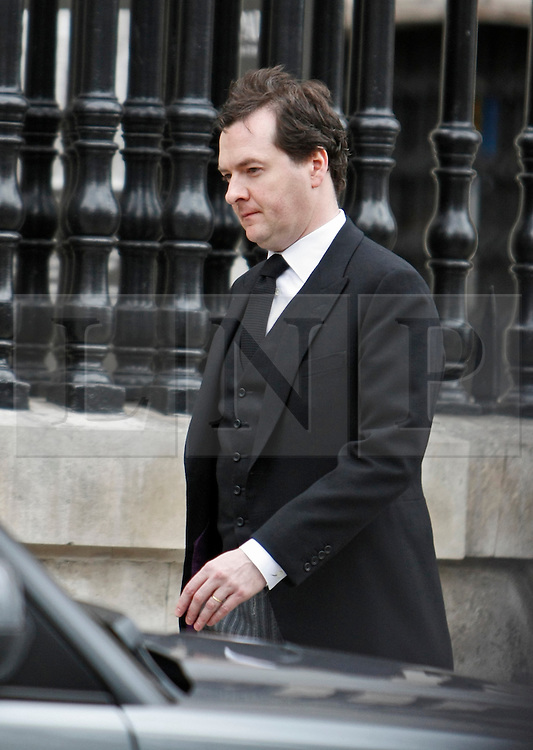 © Licensed to London News Pictures. 17/04/2013. London, U.K..Rt Hon GEORGE OSBORNE MP leaves St Pauls cathedral after the ceremonial Funeral with military honours of Baroness Thatcher , the first female Prime Minister of United Kingdom (today 17/4/2013), who died last week of a stroke..Photo credit : Rich Bowen/LNP