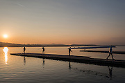 Varese. Lombardia. ITALY. General View.  Sun Set, Crewsreturning from afternoon Training on Lake/Lago Varese. [Varese Rowing Club]. [Canottieri Varese]<br /> <br /> Tuesday  03/01/2017<br /> <br /> [Mandatory Credit; Peter Spurrier/Intersport-images]<br /> <br /> <br /> LEICA CAMERA AG - LEICA Q (Typ 116) - 1/2000 - f4 , Atmospheric, mist, fog, Sunrise, Sunset, Blue Hour,