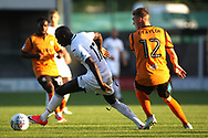 Modou Barrow of Swansea (L) spins away from Jack Taylor of Barnet (R). Pre-season friendly match, Barnet v Swansea city at the Hive in London on Wednesday 12th July 2017.<br /> pic by Steffan Bowen, Andrew Orchard sports photography.