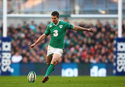 Ireland's Jonathan Sexton kicks a penalty - Photo mandatory by-line: Ken Sutton/JMP - Mobile: 07966 386802 - 01/03/2015 - SPORT - Rugby - Dublin - Aviva Stadium - Ireland v England - Six Nations