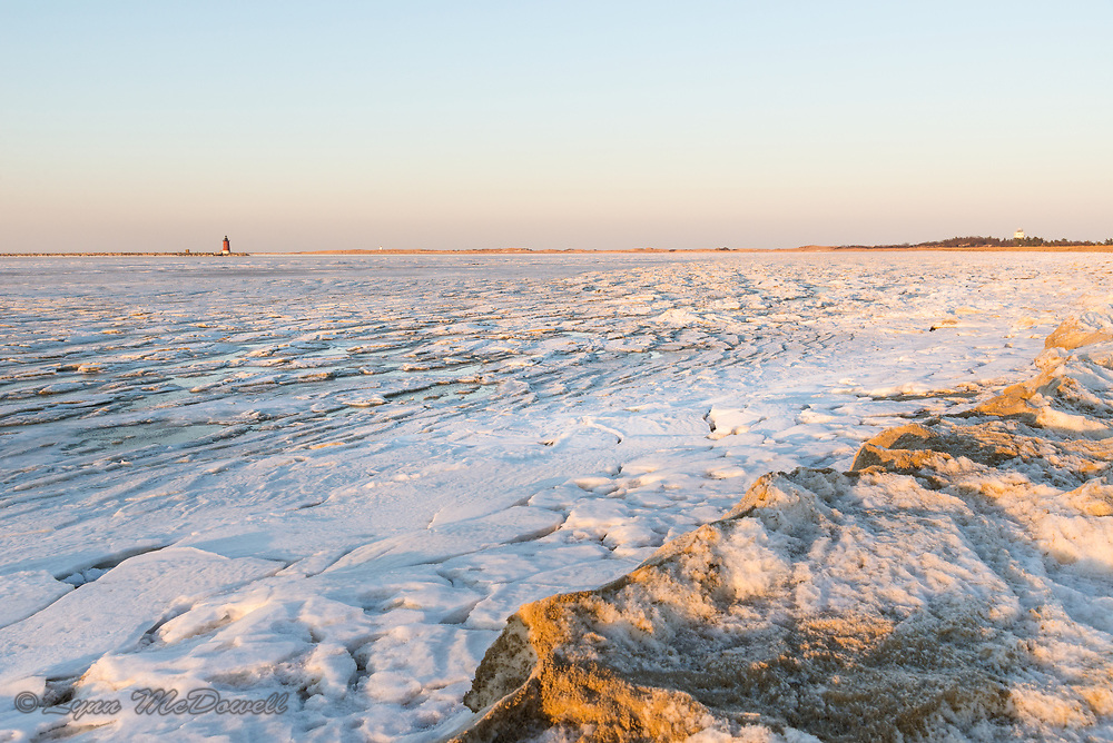 Beauty of ice patterns of frozen Delaware Bay and beach at Cape Henlopen State Park in 2018