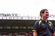 Burton Albion manager Nigel Clough stands beneath the Brian Clough stand, named in honour of his father, before the EFL Sky Bet Championship match between Nottingham Forest and Burton Albion at the City Ground, Nottingham, England on 21 October 2017. Photo by Richard Holmes.