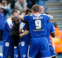 Photo: Steve Bond/Richard Lane Photography. Leicester City v Carlisle United. Coca Cola League One. 04/04/2009.  Leicester players celebrate going into the lead courtesy of Matty Fryatt