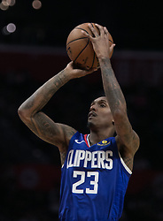 November 15, 2018 - Los Angeles, California, U.S - Lou Williams #23 of the Los Angeles Clippers takes a jump shot during their NBA game with the San Antonio Spurs on Thursday November 15, 2018 at the Staples Center in Los Angeles, California. Clippers defeat Spurs, 116-111. (Credit Image: © Prensa Internacional via ZUMA Wire)