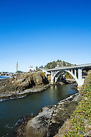 Bridge over the entrance to Depoe Bay harbor. Depoe Bay, OR.