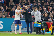 England Manager Gareth Southgate discusses tactics with England midfielder Jordan Henderson during the Friendly match between Netherlands and England at the Amsterdam Arena, Amsterdam, Netherlands on 23 March 2018. Picture by Phil Duncan.