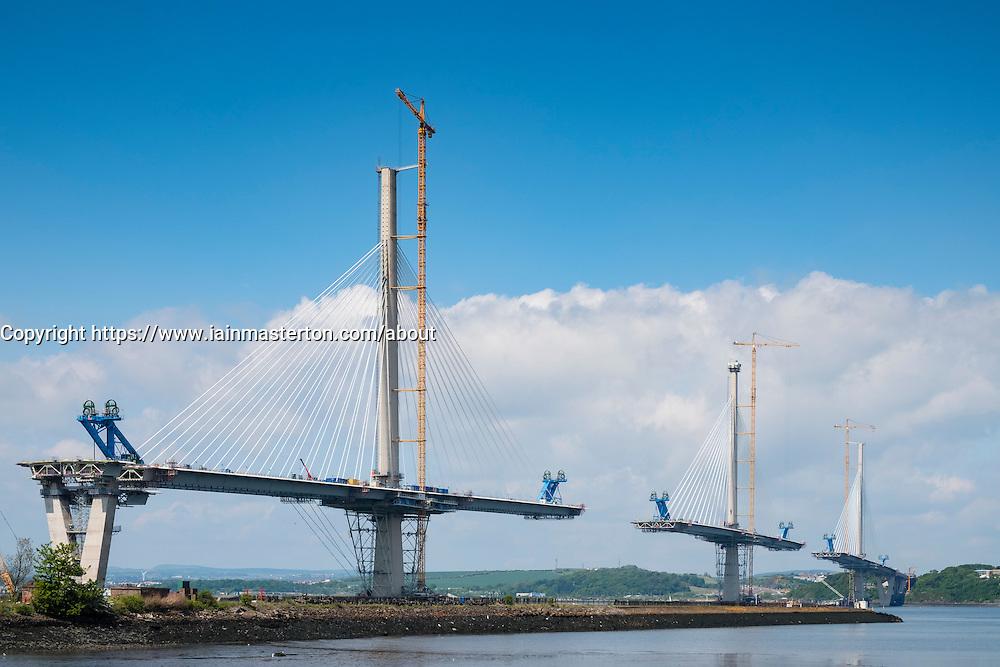 New Queensferry bridge under construction across River Forth in Scotland , United Kingdom