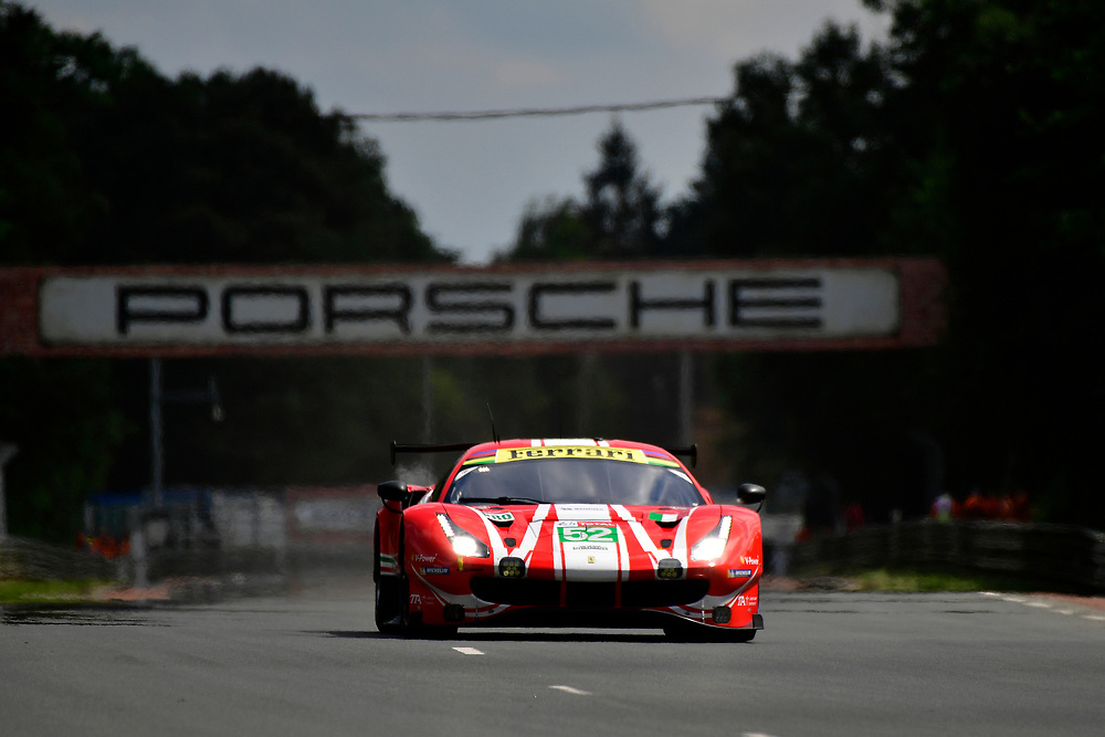 #52 AF Corse Ferrari 488 GTE EVO: Toni Vilander, Antonio Giovinazzi, Pipo Derani<br /> Wednesday 13 June 2018<br /> 24 Hours of Le Mans<br /> 2018 24 Hours of Le Mans<br /> Circuit de la Sarthe  FR<br /> World Copyright: Scott R LePage
