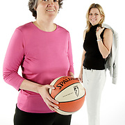 LOS ANGELES, CA, May 1, 2008:  Los Angeles Sparks basketball team owners Carla Christofferson, right,  and Kathy Goodman.