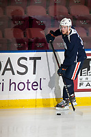 KELOWNA, BC - SEPTEMBER 23: Connor McDavid #97 of the Edmonton Oilers skates with the puck during practice at Prospera Place on September 23, 2019 in Kelowna, Canada. (Photo by Marissa Baecker/Shoot the Breeze)