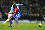 FC Basel Midfielder, Geoffroy Serey Die (20) fouls Manchester City Midfielder, Brahim Díaz (55)  during the Champions League match between Manchester City and FC Basel at the Etihad Stadium, Manchester, England on 7 March 2018. Picture by Mark Pollitt.