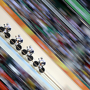 Track Cycling - Olympics: Day 6  Theo Reinhardt #110, Nils Schomber, #111, Kersten Thiele, #112 and Domenic Weinstein #113 of Team Germany in action in the Men's Team Pursuit Finals in the track cycling competition at the Rio Olympic Velodrome August 12, 2016 in Rio de Janeiro, Brazil. (Photo by Tim Clayton/Corbis via Getty Images)