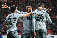 Blackburn Rovers' Tosin Adarabioyo celebrates scoring his side's second goal with team-mate Lewis Travis and Dominic Samuel <br /> <br /> Photographer Stephanie Meek/CameraSport<br /> <br /> The EFL Sky Bet Championship - Charlton Athletic v Blackburn Rovers - Saturday 15th February 2020 - The Valley - London<br /> <br /> World Copyright © 2020 CameraSport. All rights reserved. 43 Linden Ave. Countesthorpe. Leicester. England. LE8 5PG - Tel: +44 (0) 116 277 4147 - admin@camerasport.com - www.camerasport.com