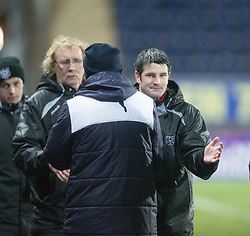 Falkirk's manager Peter Houston add Fraserburgh's manager Mark Cowie at the end.<br /> Falkirk 4 v 1 Fraserburgh, Scottish Cup third round, played 28/11/2015 at The Falkirk Stadium.