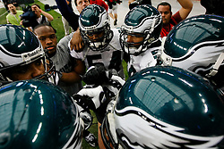 18 Jan 2009: Philadelphia Eagles Linebackers come in for a huddle before the NFC Championship game against the Arizona Cardinals on January 18th, 2009. The Cardinals won 32-25 at University of Phoenix Stadium in Glendale, Arizona. (Photo by Brian Garfinkel)