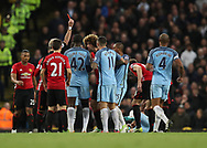Marouane Fellaini of Manchester United is sent of by referee Martin Atkinson during the English Premier League match at The Etihad Stadium, Manchester. Picture date: April 27th, 2016. Photo credit should read: Lynne Cameron/Sportimage