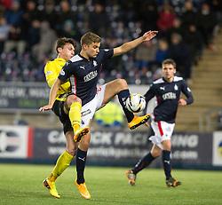 Livingston's Michael McKenna and Falkirk's Alex Cooper.<br /> Falkirk 0 v 0  Livingston, Scottish Championship game played 21/10/2014 at The Falkirk Stadium.