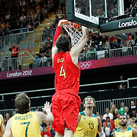 31 July 2012: Spain Pau Gasol dunks the ball during the first half of Spain vs Australia, during the men's basketball preliminary, at the Basketball Arena, in London, Great Britain.
