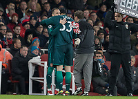 Football - 2017 / 2018 Premier League - Arsenal vs. Everton<br /> <br /> Petr Cech (Arsenal FC) hugs David Ospina (Arsenal FC) after he has to leave the field with and injury at The Emirates.<br /> <br /> COLORSPORT/DANIEL BEARHAM