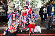 London, United Kingdom. June 3rd 2012..Queen Elizabeth II Diamond Jubilee 1952-2012.People before the Thames Diamond Jubilee Pageant