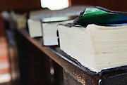 Church books with feathered pages.