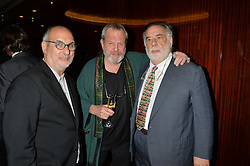 Left to right, ALAN YENTOB, TERRY GILLIAM and FRANCIS FORD COPPOLA at a dinner hosted by Liberatum to honour Francis Ford Coppola held at the Bulgari Hotel & Residences, 171 Knightsbridge, London on 17th November 2014.