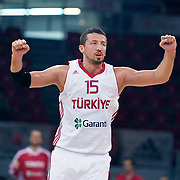Turkey's Hidayet TURKOGLU during their Istanbul CUP 2011match played Turkey between New Zeland at Abdi Ipekci Arena in Istanbul, Turkey on 24 August 2011. Photo by TURKPIX