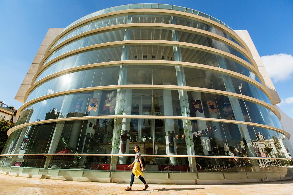 Habima National Theatre building at Habima Square (or Culture Square) in Tel Aviv's Lev Hair neighborhood