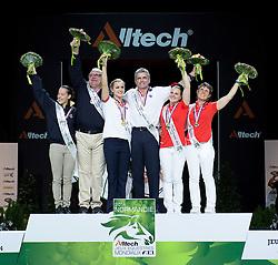 Podium - Individuals Women Final Vaulting - Alltech FEI World Equestrian Games™ 2014 - Normandy, France.<br /> © Hippo Foto Team - Jon Stroud<br /> 05/09/2014