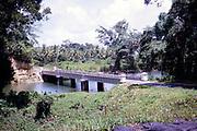 Captioned as 'East coast road' bridge crossing river, Trinidad 1963